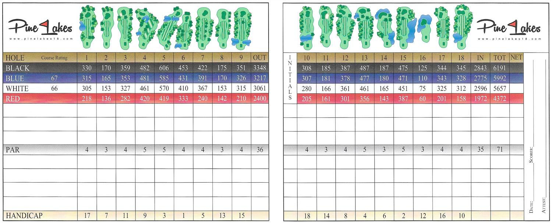 Scorecard & Layout - Pine Lakes